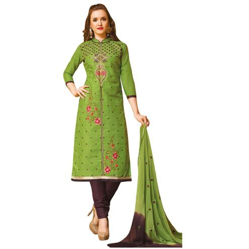Stunning Green Colored Embroidered Casual Wear Cotton Dress Material