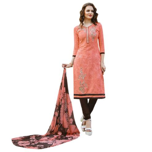 Opulent Peach Colored Embroidered Casual Wear Cotton Dress Material
