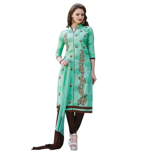 Surpassing Turquoise Colored Embroidered Casual Wear Cotton Dress Material