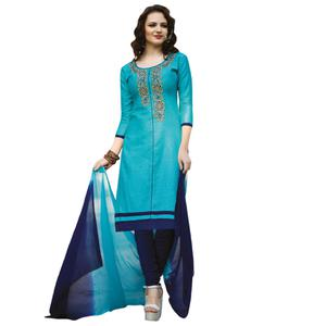 Radiant Blue Colored Embroidered Casual Wear Cotton Dress Material