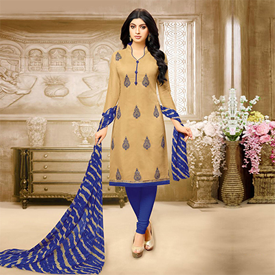 Beautiful Beige Chanderi Salwar Suit