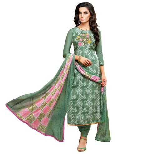 Glowing Green Colored Embroidered Casual Wear Cotton Dress Material