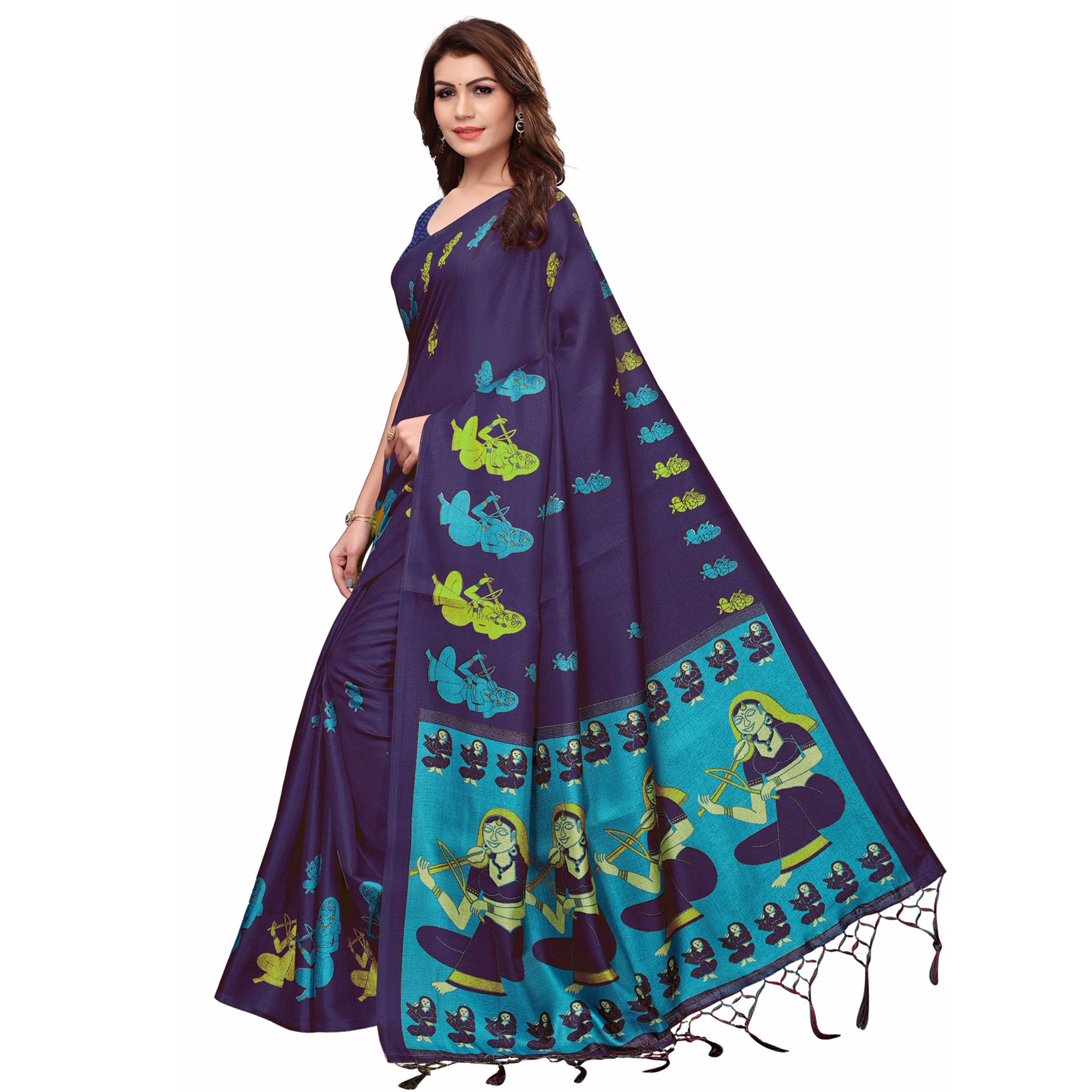 Desirable Navy Blue Colored Festive Wear Printed Khadi Silk Saree