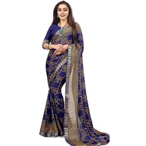Exceptional Navy Blue Colored Casual Printed Chiffon Saree