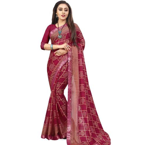 Mesmeric Pink Colored Casual Printed Chiffon Saree
