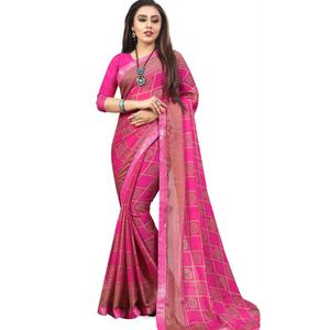 Unique Magenta Pink Colored Casual Printed Chiffon Saree
