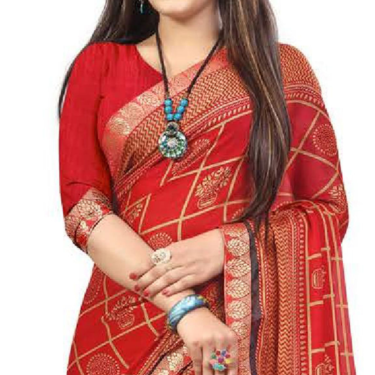 Demanding Red Colored Casual Printed Chiffon Saree