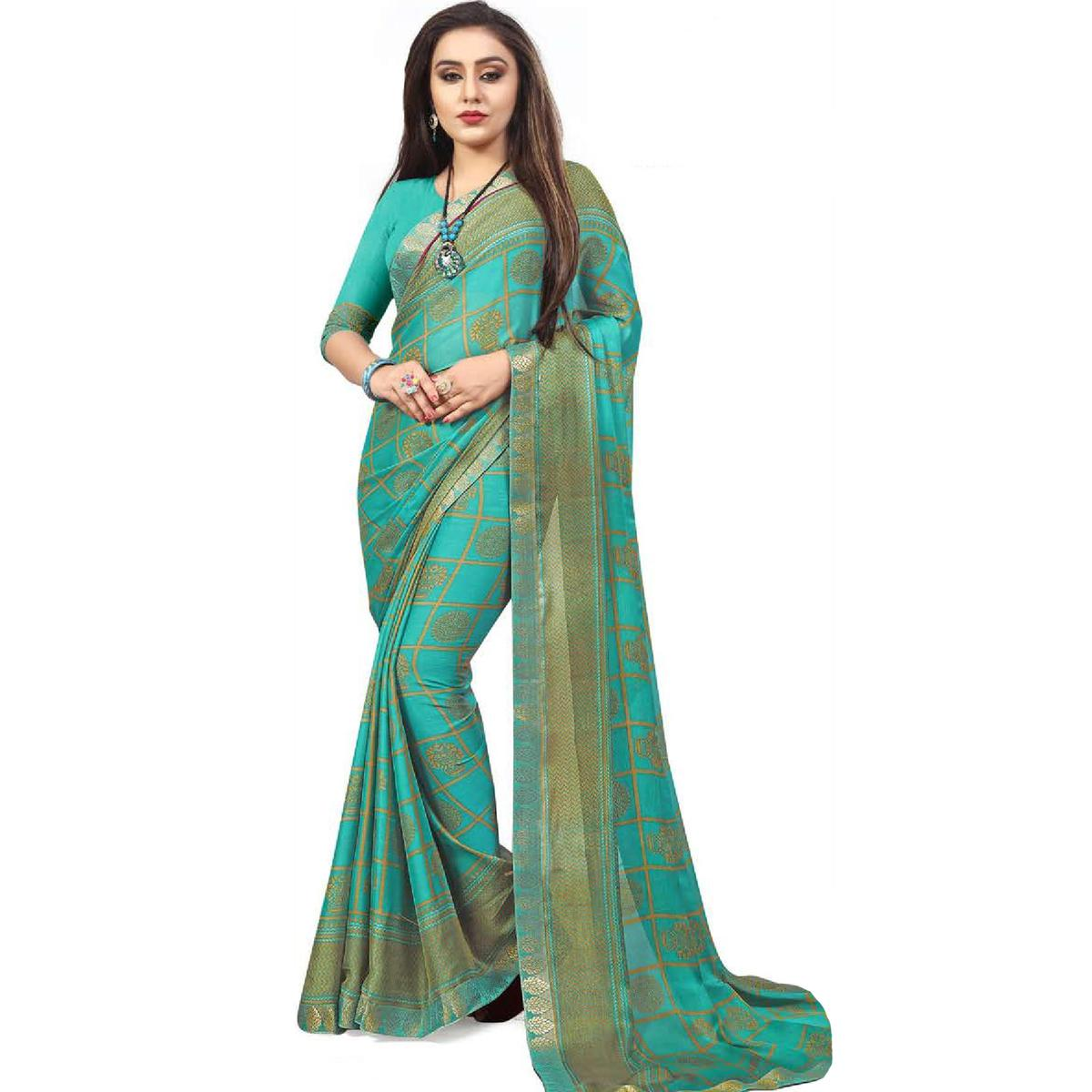 4fc76a0c9e Buy Refreshing Turquoise Blue Colored Casual Printed Chiffon Saree ...
