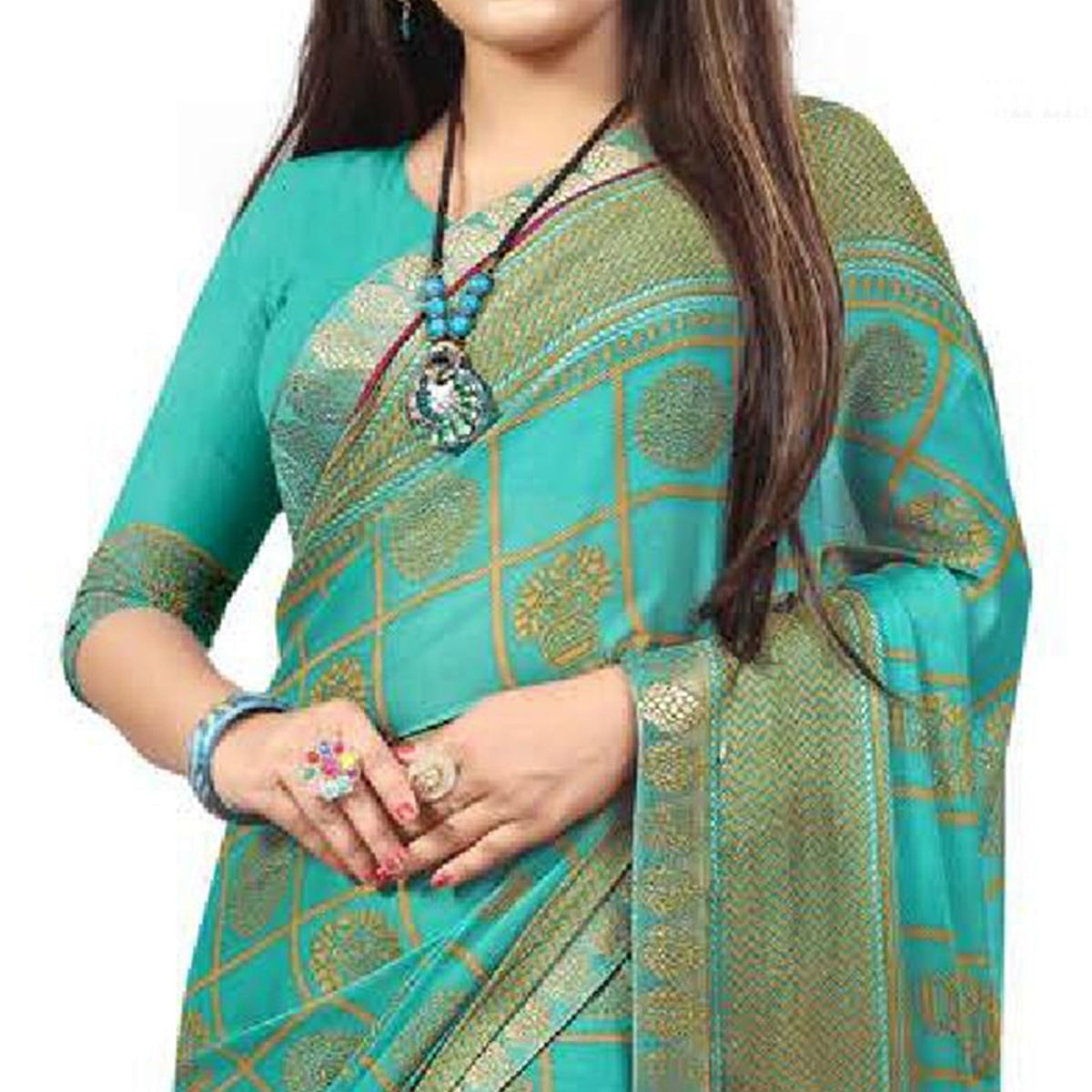 Refreshing Turquoise Blue Colored Casual Printed Chiffon Saree