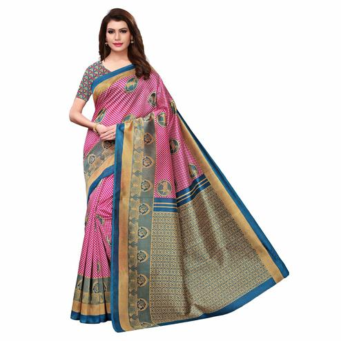 Elegant Pink Color Casual Printed Art Silk Saree