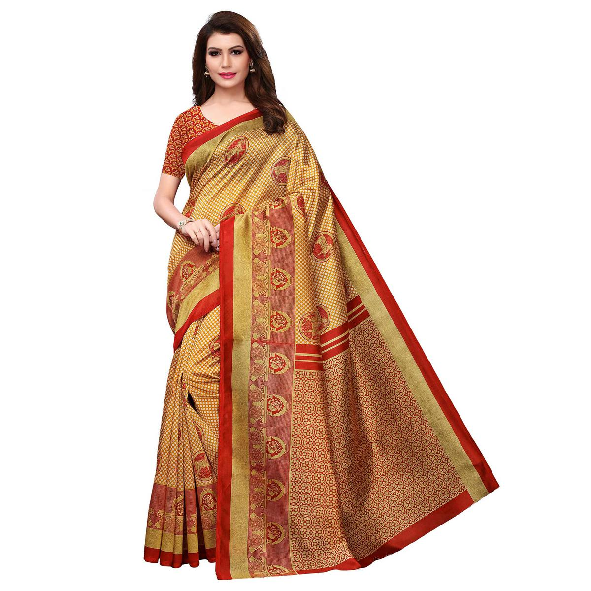 Classy Mustard Yellow Colored Casual Printed Art Silk Saree