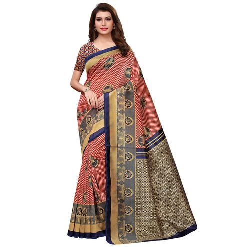 Beautiful Red Colored Casual Printed Art Silk Saree
