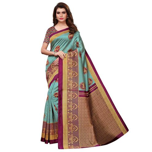 Adorable Sky Blue Colored Casual Printed Art Silk Saree