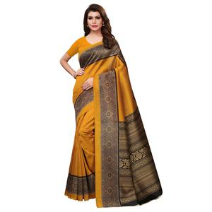 Refreshing Mustard Yellow Colored Casual Printed Art Silk Saree
