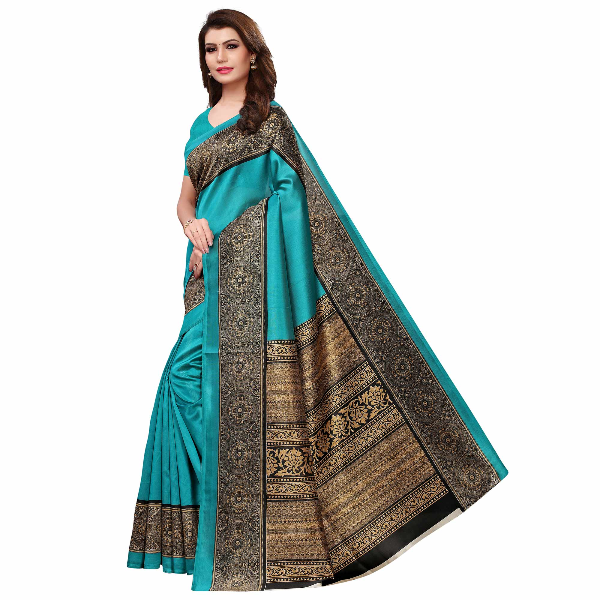 Desirable Sky Blue Colored Casual Printed Art Silk Saree