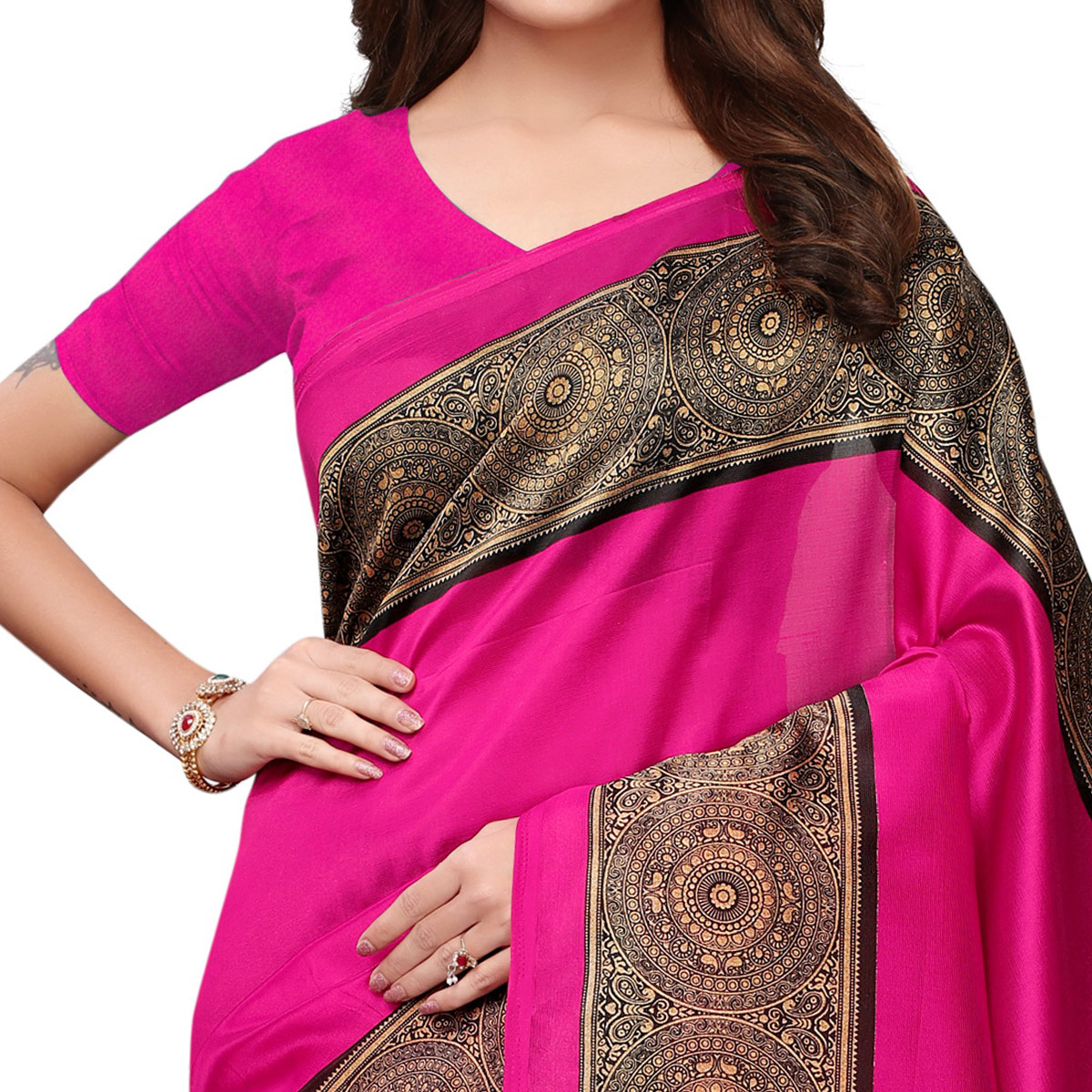 Demanding Rani Pink Colored Casual Printed Art Silk Saree