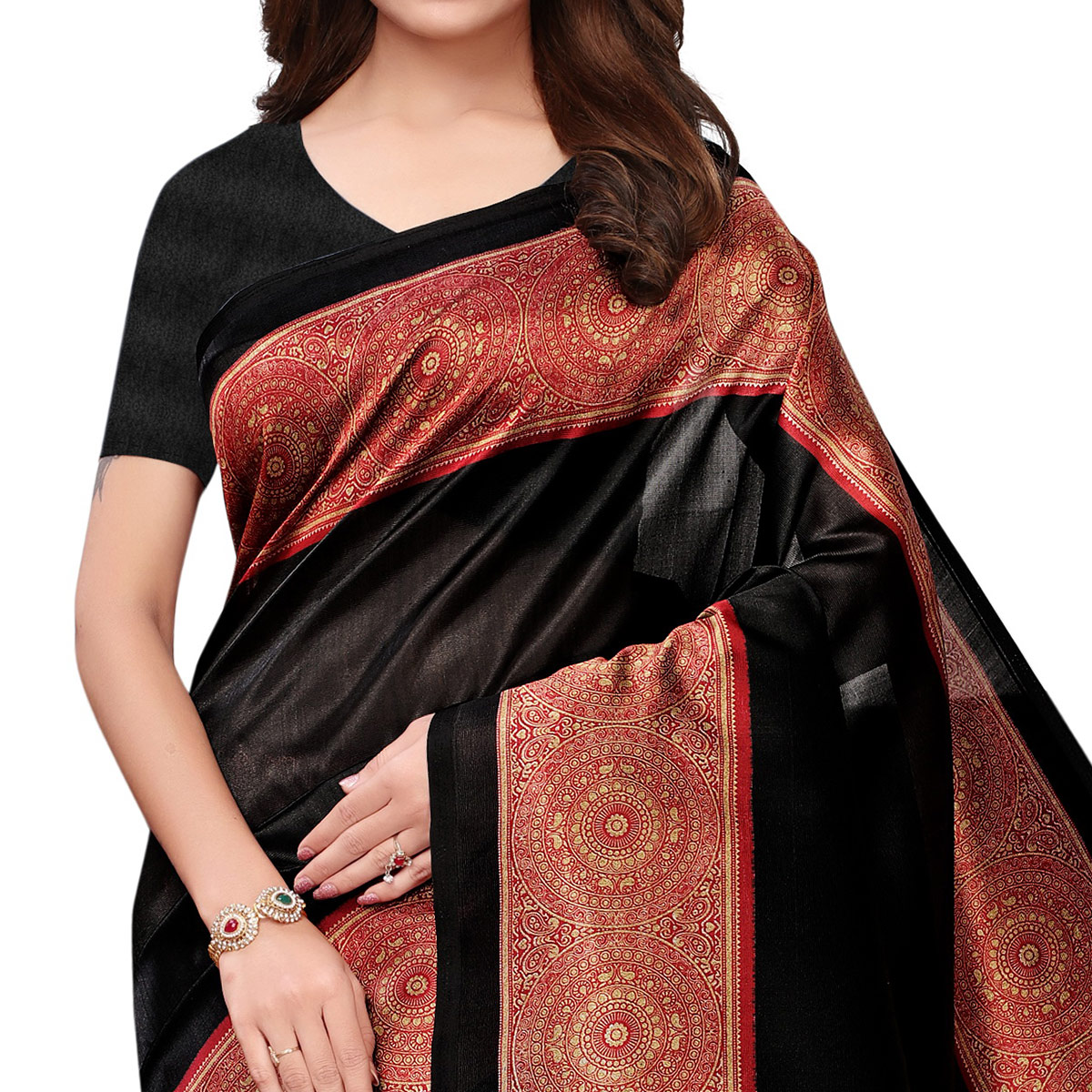 Gleaming Black Colored Casual Printed Art Silk Saree
