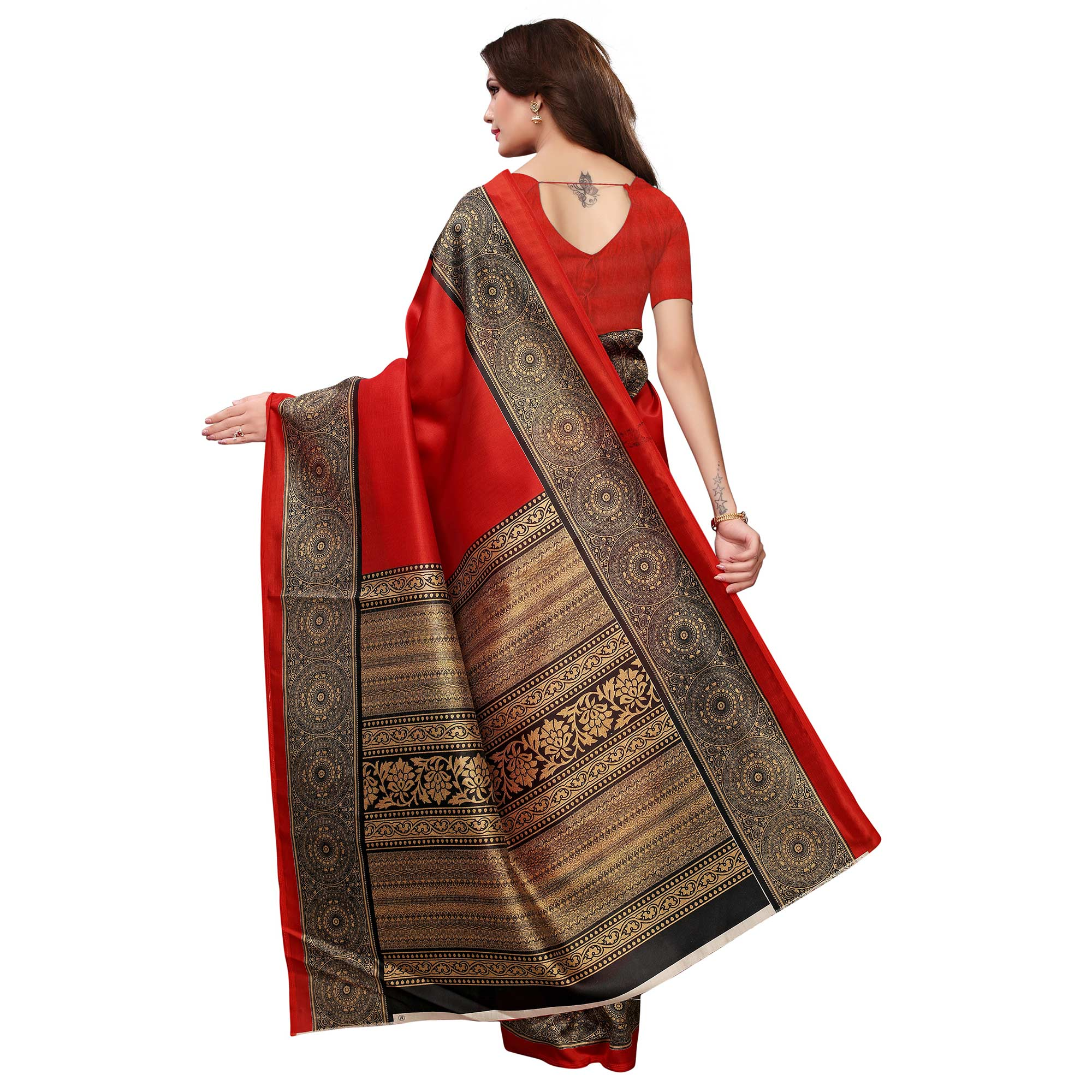 Blooming Red Colored Casual Printed Art Silk Saree