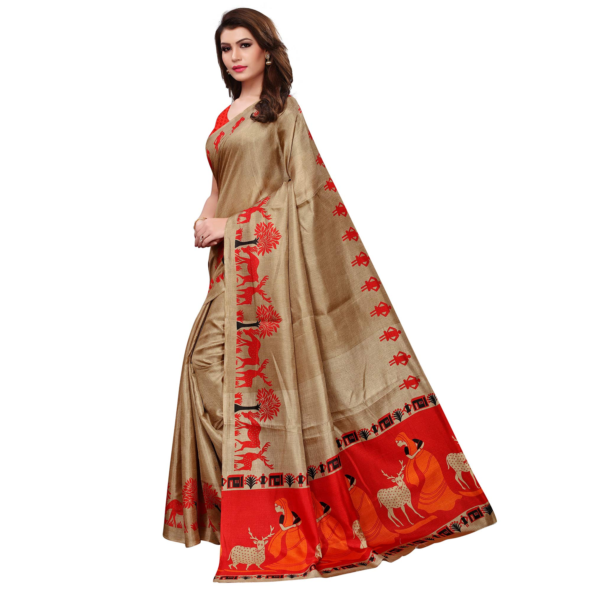 Trendy Chiku Colored Casual Printed Khadi Silk Saree