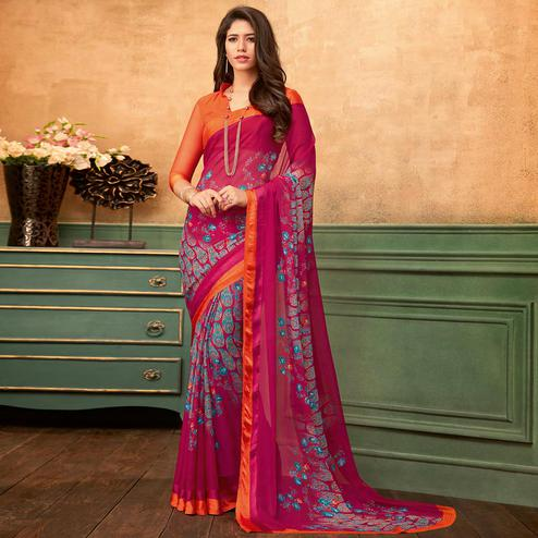 Intricate Pink Colored Casual Wear Printed Chiffon Saree