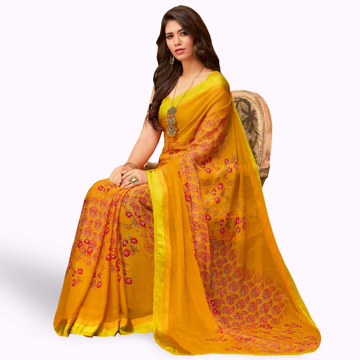 Arresting Mustard Yellow Colored Casual Wear Printed Chiffon Saree