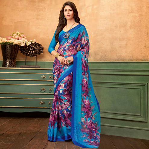 Sophisticated Blue - Purple Colored Casual Wear Printed Chiffon Saree