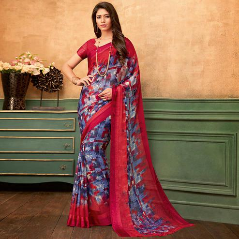 Trendy Red - Blue Colored Casual Wear Printed Chiffon Saree