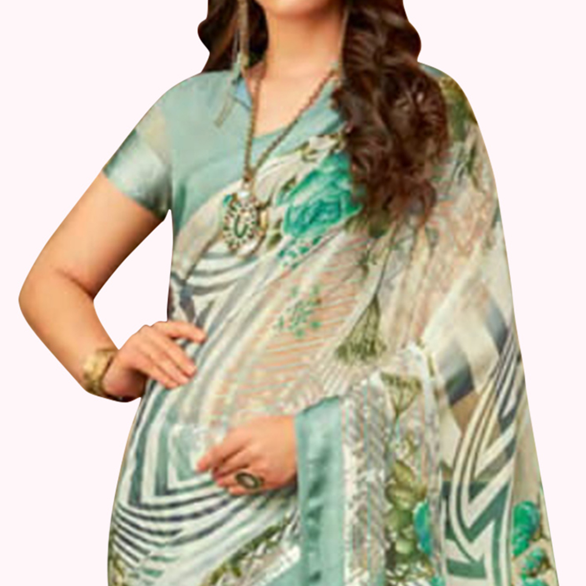 Flattering Off White Colored Casual Wear Printed Chiffon Saree