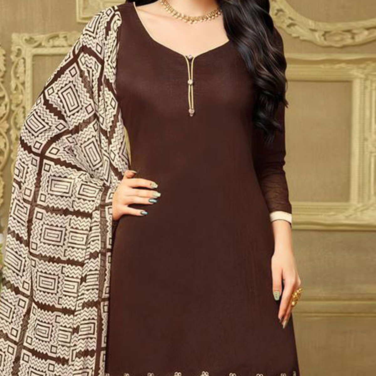 Gorgeous Brown Chanderi Salwar Suit