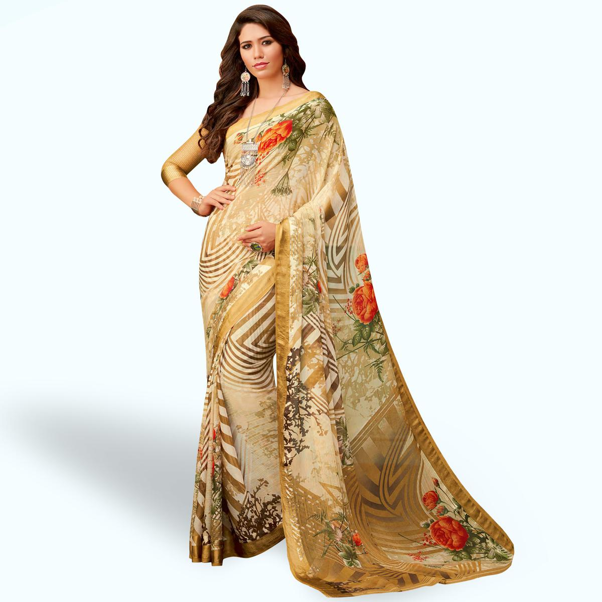 Radiant Beige Colored Casual Wear Printed Chiffon Saree