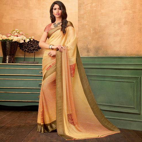 Pleasant Cream Colored Casual Wear Printed Chiffon Saree