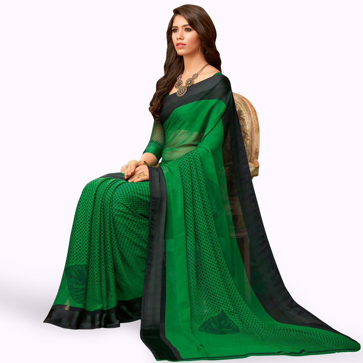 Opulent Green Colored Casual Wear Printed Chiffon Saree