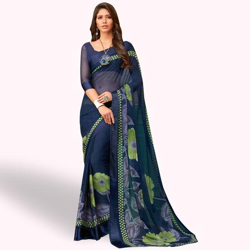 Energetic Navy Blue Colored Casual Wear Printed Chiffon Saree