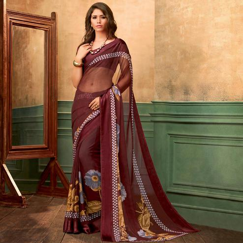 Glowing Wine Colored Casual Wear Printed Chiffon Saree