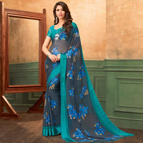 Exceptional Grey Colored Casual Wear Printed Chiffon Saree