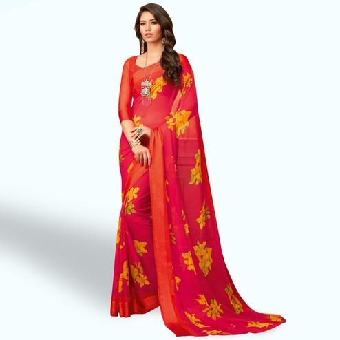 Gleaming Pink Colored Casual Wear Printed Chiffon Saree