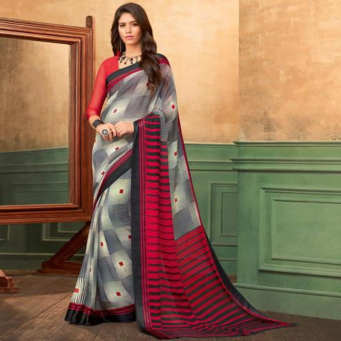 Mesmeric Grey - Red Colored Casual Wear Printed Chiffon Saree