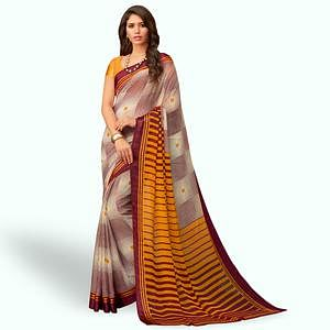 Unique Wine - Yellow Colored Casual Wear Printed Chiffon Saree