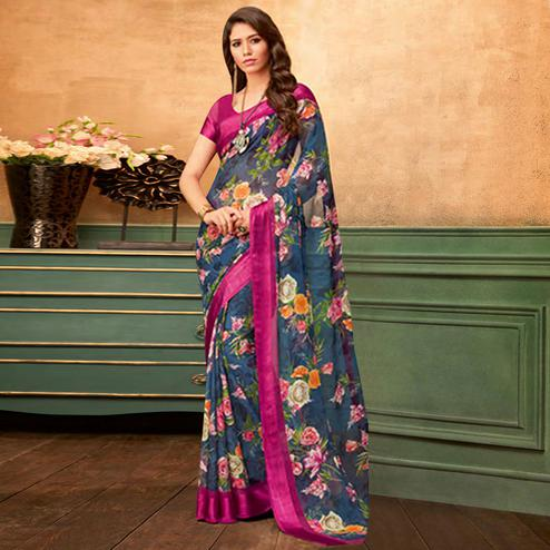 Demanding Navy Blue Colored Casual Wear Printed Chiffon Saree