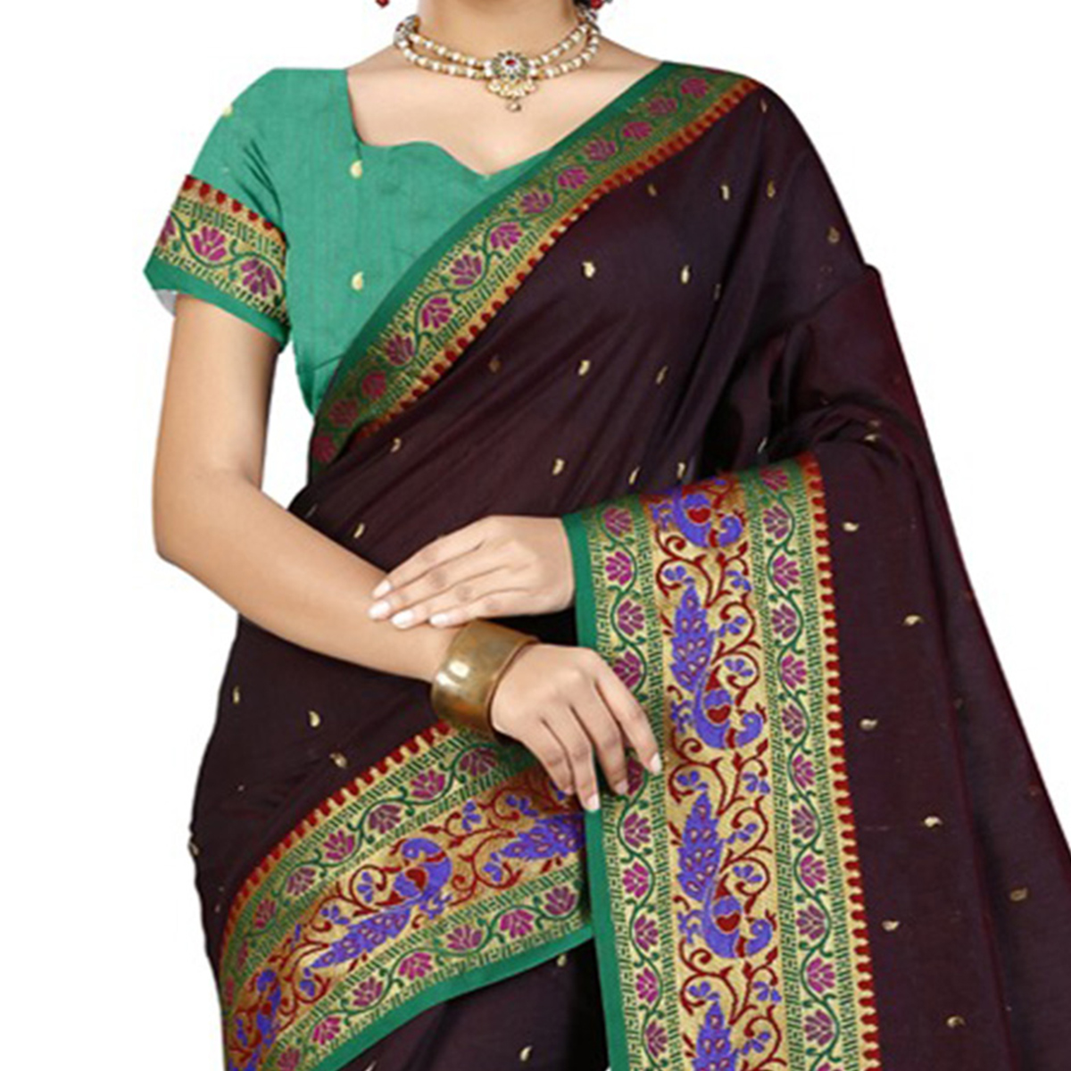 Beautiful Brown Designer Festive Wear Woven Silk Saree