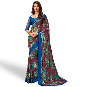 Refreshing Wine Colored Casual Wear Printed Chiffon Saree