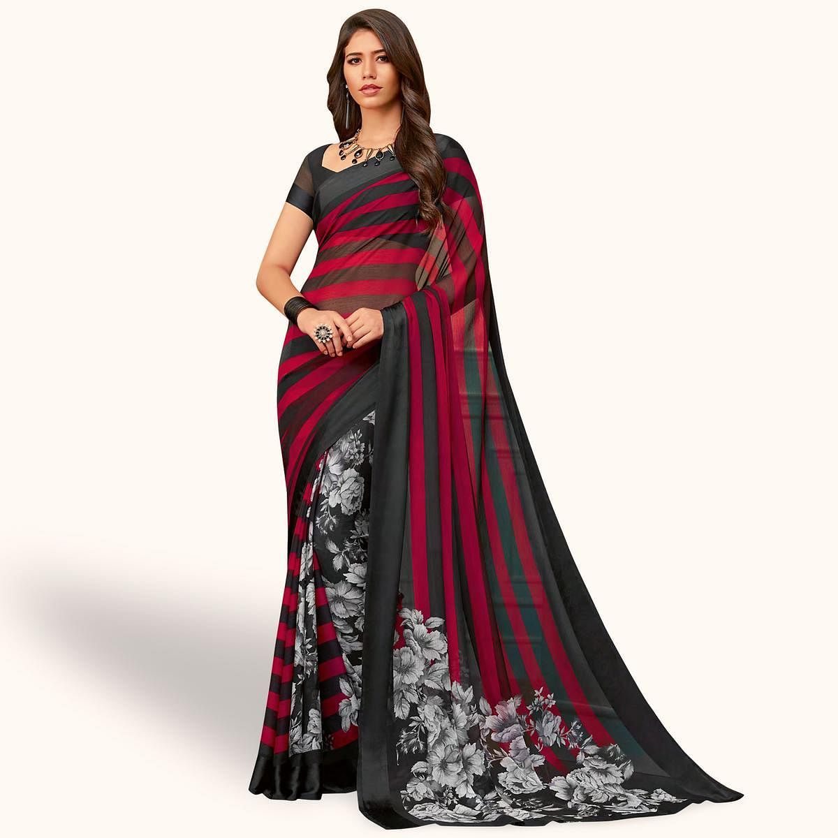 Magnetic Black - Red Colored Casual Wear Printed Chiffon Saree