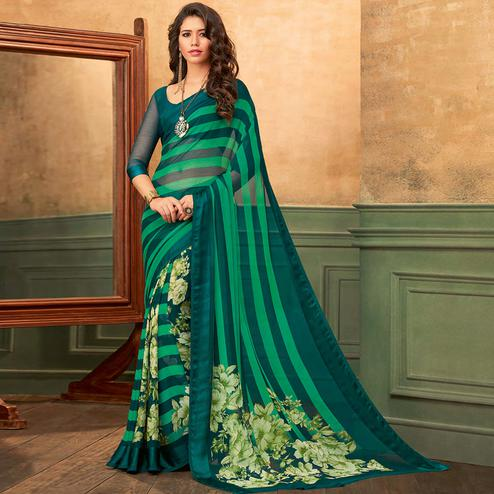 Hypnotic Green Colored Casual Wear Printed Chiffon Saree