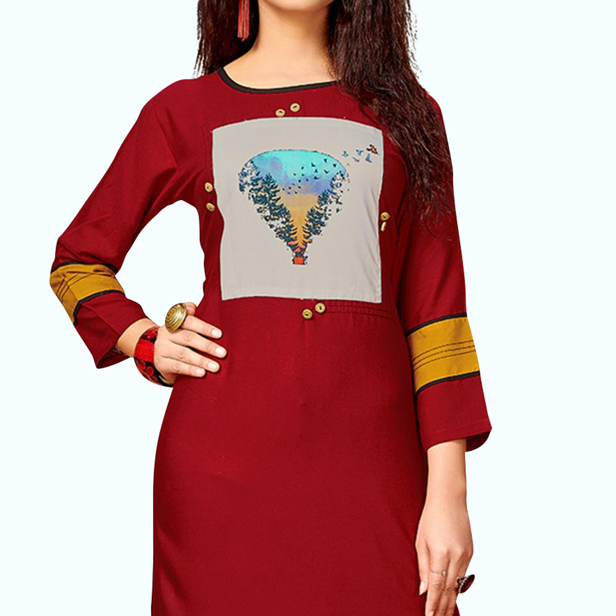 Intricate Maroon Colored Party Wear Printed Rayon Kurti