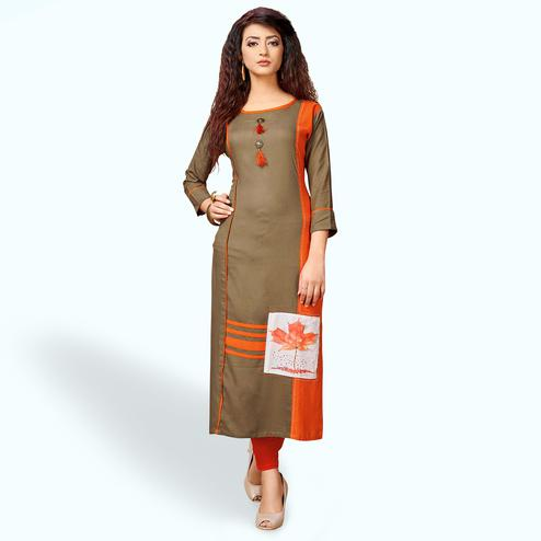 Adorable Light Brown Colored Party Wear Printed Rayon Kurti