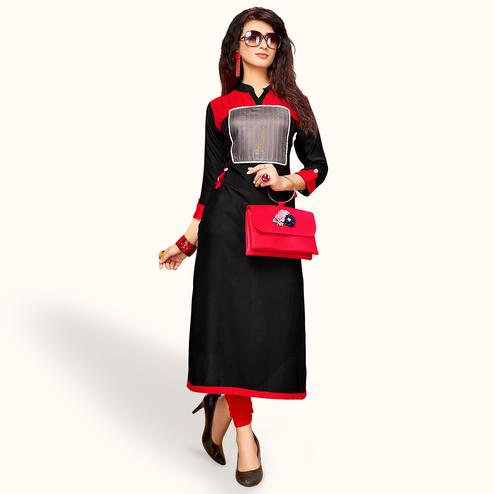 Jazzy Black Colored Party Wear Printed Rayon Kurti