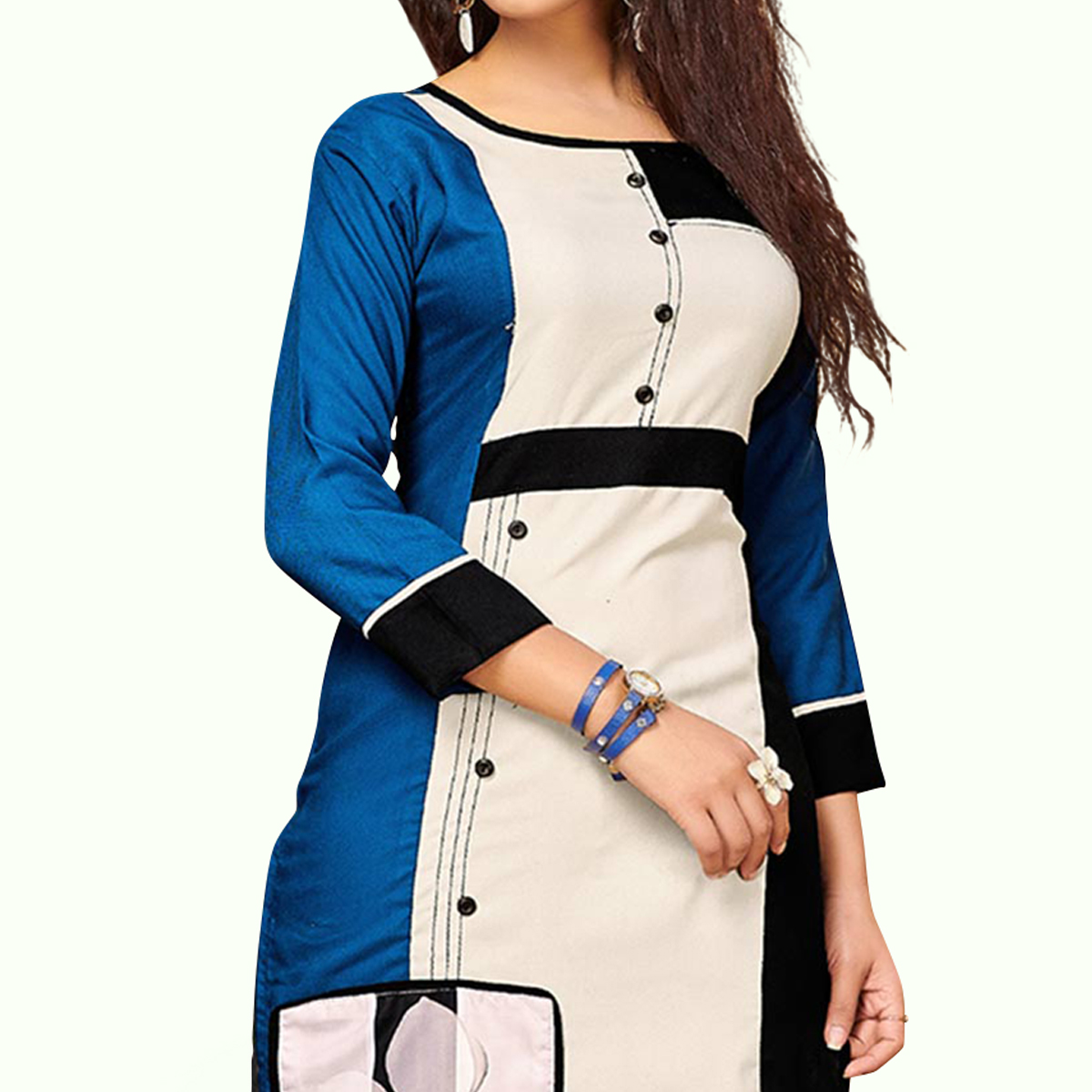 Attractive Blue - Off White Colored Party Wear Printed Rayon Kurti