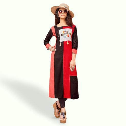 Desirable Multi Colored Party Wear Printed Rayon Kurti
