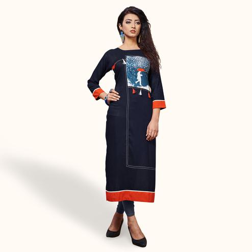 Appealing Navy Blue Colored Party Wear Printed Rayon Kurti