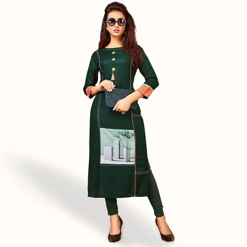 Gorgeous Dark Green Colored Party Wear Printed Rayon Kurti